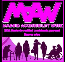 """Imagen del cartel publicitario de la Madrid Accessibility Week 2020. Lema """"Haciendo realidad la asistencia personal. Nuevos retos"""""""